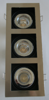 Designer LED downlight  – ZERO GLARE - rectangular, triple gimbal, with LED CD series globes with reflector (white cable/round connector) and external LED driver